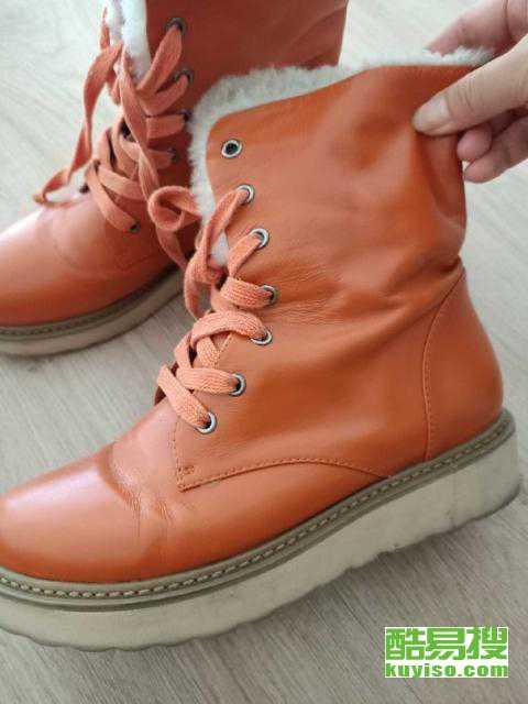 秋冬女款桔红色真皮女靴
